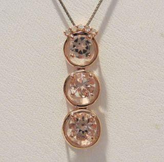 Morganite 10K Rose Gold Pendant with Genuine Diamond Accent