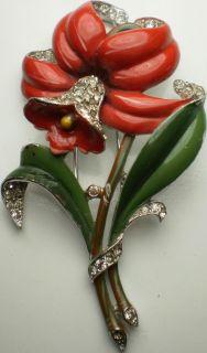 1940s Trifari Alfred Phillipe Enamel Flower Pin Brooch