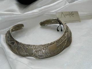 Alexis Kirk Modernist Silvertone Collar Hinge Necklace