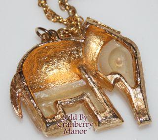 Vintage Frosted Lucite Rhinestone Elephant Pendant Necklace