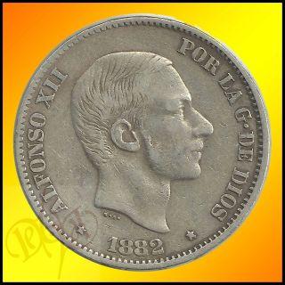 Philippines 50 Centimos de Peso 1882 Alfonso XII Silver Coin
