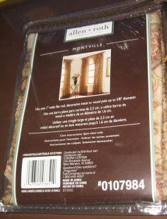 Allen Roth Montville Rod Pocket Window Curtain Valance 40x18 Brown