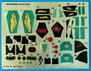 Mighty Morphin Power Rangers Dragonzord Stickers New