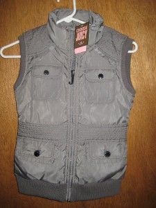 Juicy Couture Girls Sz 8 Grey Slate Sleeveless Puffer Vest Ski Jacket