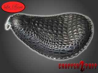 Chopper Bobber Solo Seat Black Alligator skin texturized leather
