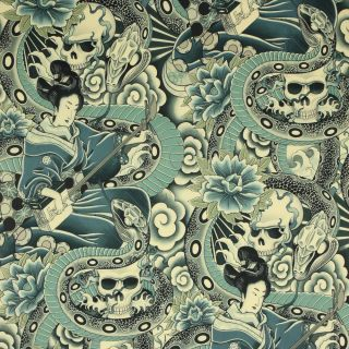 Alexander Henry Zen Charmer Tea Indigo Blue Asian Tattoo Geisha Skull