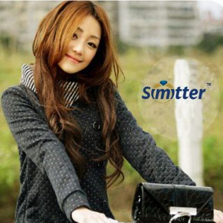 New Korean Fashion Womens Autum Grid Knitting Top Long Coat Jacket