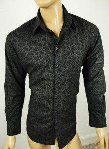 Zara Mens Black Floral Paisley Design Alfie Moon Style Shirt Top Size