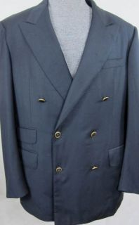 Alfred Dunhill DB Navy Blazer Sport Coat Brass Sig Buttons Made in
