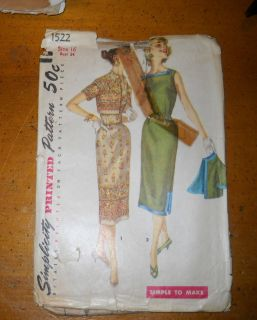 SIMPLICITY PATTERN SIZE 16 BUST 34 VINTAGE SEWING ONE PIECE DRESS