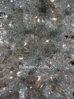 Silver Slim Alpine Pre Lit Christmas Tree 7 ft Tall Hinged Mid Century