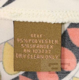 Ali Ro Cream Multi Color Matte Jersey Knit Boatneck Dress Size 10