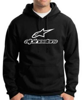 Alpinestars Black Hoodie Motorcycle Racing Gear Hooded Motocross