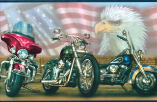 Harley Davidson  All American Flag Plus Eagle Wallpaper Border Wall