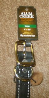 Alum Creek 1 x 23 Black Leather Spike Dog Collar New