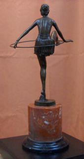 1920s Signed Art Deco Hula Hoop Lady Bronze Statue Sculpture GIFT