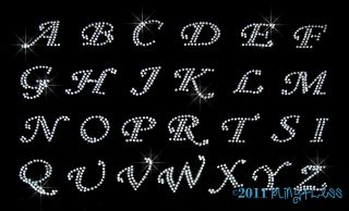 Any 5 Cursive Letter Med Clear Alphabet Rhinestone Iron on Transfer