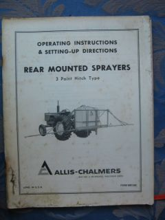 9001304 Allis Chalmers Manual Rear Mounted Sprayers 3 Point Hitch Type