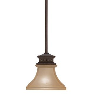 Allen Roth Tannery Bronze Aztec Mini Pendant Light with Frosted Shade