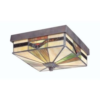 Allen Roth Tiffany Style Exterior Outdoor Flush Mount Ceiling Light