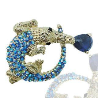 Bold Alligator Crocodile Brooch Pin Swarovski Crystal Blue Zircon