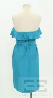 Amanda Uprichard Blue Silk Ruffle Strapless Dress Size Large NEW