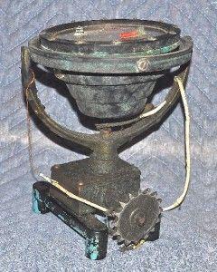 antique wood freeman metal marine auto pilot compass