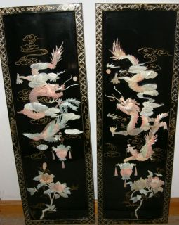 ANTIQUE ORIENTAL 3D WOOD PANELS W CARVED ALABASTER W DRAGON PHOENIX
