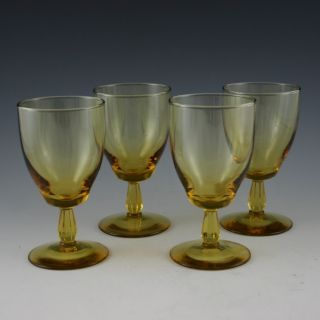 CRYSTAL GLASS AMBER YELLOW FOOTED WINE WATER GOBLETS GLASSES STEMWARE
