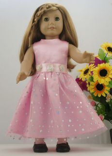 1pcs Doll Clothes Princess Dress for 18American Girl New Pink