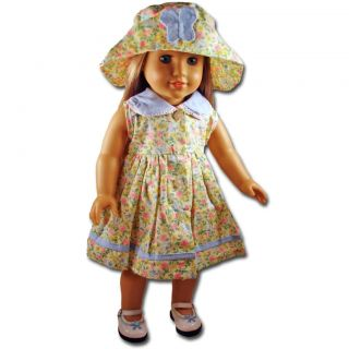 Doll Clothes Fit 18 American Girl Yellow Blue Floral Dress Hat Fancy