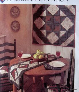 American Traditions McCalls Log Cabin Quilt Pattern Table Runner Apron