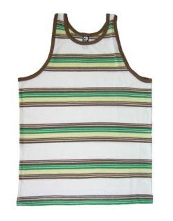 70s Vintage Style Stripe Striped Tank Top Mens Green