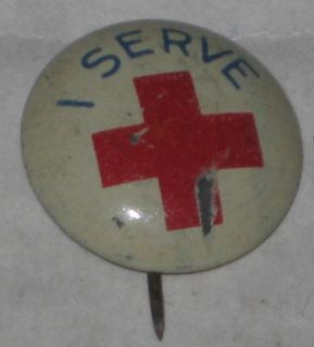 Vintage American Red Cross I Serve Pin