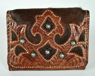 American West Womens Brown Cowhide Leather & Pony Hair TriFold Wallet