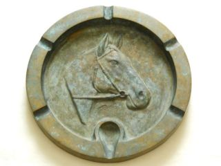 Early 1900s Large Brass Horse Ashtray Artist Signed VG