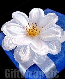 12 White Silk 3 Flowers Camelia Wedding Favors Bows Christmas Wreath