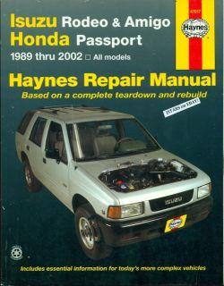 2000 2001 2002 Isuzu Rodeo Amigo Honda Passport Repair Manual