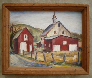 Rice Vintage Old 1939 American Folk Art Barn Rural Landscape Oil