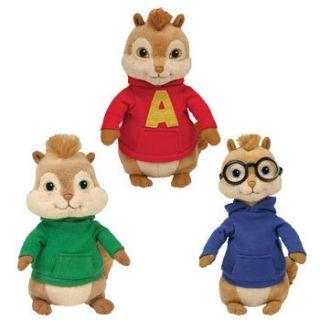 TY Beanie Babies   ALVIN & THE CHIPMUNKS (Set of 3   Alvin, Simon