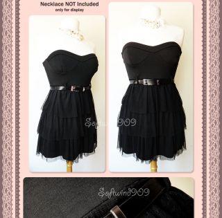 New Alyn Paige Black Polkadot Mesh Ruffle Skirt Strapless Mini Dress
