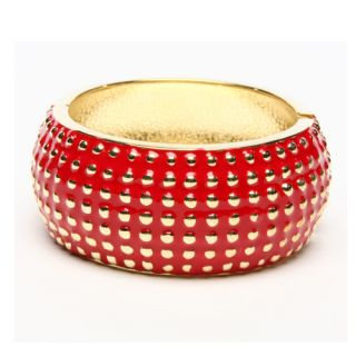 Amrita Singh 18k Gold Plated India ENAMEL Bracelet Cuff RED GOLD