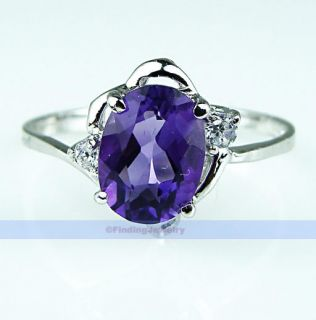 Genuine 1 2ct Oval Purple Amethyst Silver Ring Size 7 FINDINGJEWELRY
