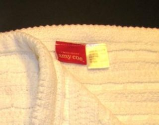 Amy COE Lt Ed White Cable Knit Chenille Blanket Red Tag