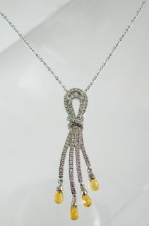 18K White Gold Diamond Amber Pendant Necklace 8 2G