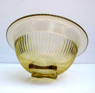 1930s Anchor Hocking Art Deco Embossed Citrus Yellow Glass Bowl
