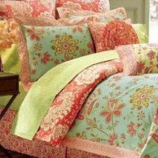 Amy Butler Sari Bloom Twin Duvet Cover Organic New 400TC Aqua Reddish