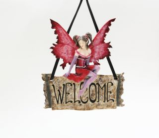 AMY BROWN DESIGNER  WELCOME  BUTTERFLY FAIRY DOOR/WALL DECORATIC