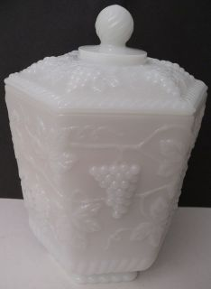Fire King Anchor Hocking Ware Milk Glass COOKIE JAR Grapes Candy Dish