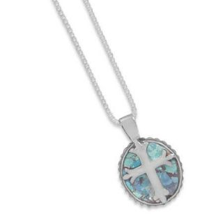 Genuine Ancient Roman Glass Cross Necklace Pendant 925 Sterling Silver